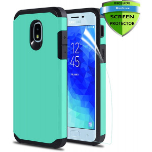 Phone Case for Samsung Galaxy J7 Refine/Galaxy J7 2018/J7 Star /J7 Aero/J7 V 2rd Gen/J7 Top/J7 Aura/J7 Crown/J7 Eon, with Screen Protector, Protective Armor Case Accessories - Navy Blue