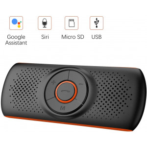 Bluetooth Handsfree Car Speaker, Upgraded Wireless in-Car Speakerphone Visor Clip Stereo Music Player Car Kit for Handsfree Talking and GPS Broadcast, TF Card Play/Siri/Google Assistant Supported