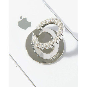 Sonix Embellished Crystal Rhinestone Phone Ring (Silver, Clear)