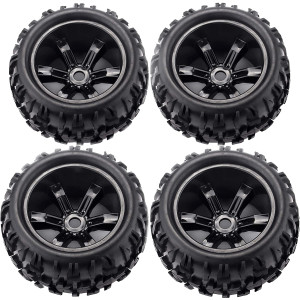 RC Tires Wheels 1/8 Scale Monster Truck Buggy Tires 4 PCS 17mm Hex PreGlued Rim and Tires for Racing RC Off-Road On-Road Car Accessories, for 1/8 Traxxas HSP HPI E-MAXX Savage etc, Black