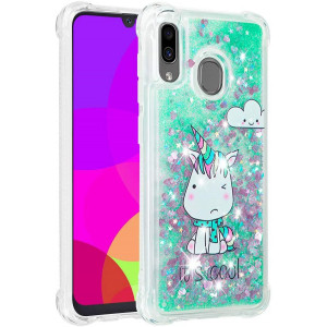 ISADENSER Samsung Galaxy A20 Case Galaxy A30 Clear Case Soft TPU Glitter Stylish with air Corner 3D Hearts Quicksand Shiny Flowing Liquid Protective Cover for Samsung Galaxy A20 / A30 Cool Unicorn YB