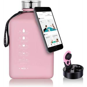 SOCOO Gallon Water Jug with Motivational Time Marker 2.7L fitness Water Bottle for Workout Outdoor jug leak proof Gym Yoga sport gallon jug (91oz Pink)