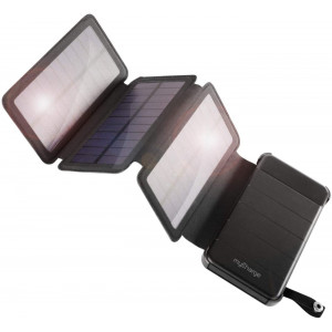 myCharge Solar Charger - PowerFold 8000 mAh Power Bank | Portable Charger for Camping and Outdoors with 2 USB Ports and Removeable Folding Solar Panels