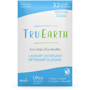 Tru Earth Eco-Strips Laundry Detergent (Fresh Linen Scent, 32 Loads) - Eco-friendly Ultra Concentrated Compostable and Biodegradable Plastic-Free Laundry Detergent Sheets