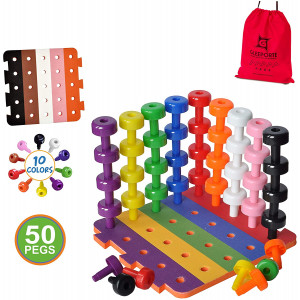 Patterned Stacking Peg Board Set Toy | JUMBO PACK | Montessori Occupational Therapy Early Learning For Fine Motor Skills, Ideal for Toddlers and Preschooler, Includes 50 Plastic Pegs and 2 Boards