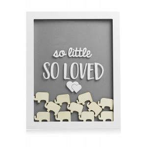 Pearhead Little Wishes Signature Baby Shower Guestbook Sign Frame, Great Guestbook Alternative, Gray/White