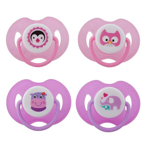 Avima Infant Pacifiers, 6-12 Months. Orthodontic Nipple. Pink. Set of 4 with 2 Bonus Sterilizer Cases