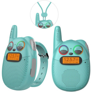 QNIGLO FRS Walkie Talkies with FM, Wearable and Rechargeable Walkie Talkies for Kids, up to 2 Miles Kids Walkie Talkies for Bicycle, Hiking, Camping, Running (Green)