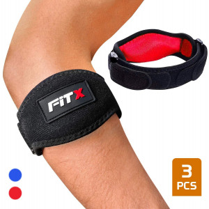 FiTX Tennis Elbow Brace Strap for Tendonitis Golfers Elbow Support Compression Pad for Men Women Pain Relief Adjustable Arm Band Bonus E-Book
