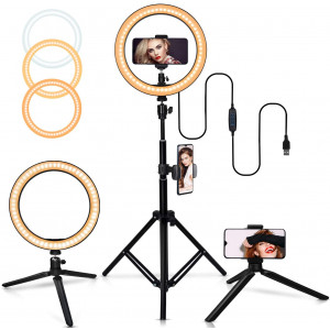 """10"""" Selfie Ring Light with Adjustable Tripod Stand, 3 Modes 10 Brightness Levels with 120 LED Bulbs 5500K, LED Ring Light with Phone Holder for Vlogs, Live Stream, Phone,YouTube,Self-Portrait Shooting"""