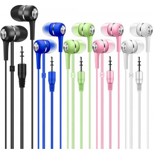 Bulk Earbuds 50 Pack Multi Colored for Classroom Kids Child Teen, Factorymall Wholesale Disposable Earbuds Earphones Headphones for School,Students,Library Computer Lab,Donate