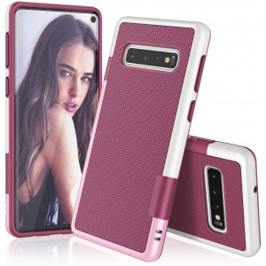 TILL for Galaxy S10 Case, TILL(TM) Ultra Slim 3 Color Hybrid Impact Anti-Slip Shockproof Soft TPU Hard PC Bumper Extra Front Raised Lip Case Cover for Samsung Galaxy S10 G973U 6.1Inch [Wine]