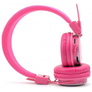 NIA Q8 Wireless Bluetooth Headphones with Built-in FM Radio, TF Card Mp3 Player and 3.5mm Aux, App Controllable - Pink
