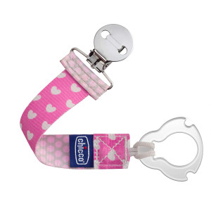 Chicco Universal 2-in-1 Baby Pacifier/Soother Clip/Holder with Universal Loop for Teethers and Small Toys, Pink/Grey