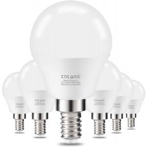 E12 LED Light Bulb,Cotanic 6W LED Candelabra Bulb(60 Watts Equivalent),Daylight White 4000K,Decorative A15 Ceiling Fan Light Bulbs,Non-Dimmable,600LM,80+CRI,Pack of 6