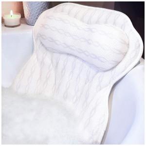 Bath Pillow Luxury Bathtub Pillow, Ergonomic Bath Pillows for Tub Neck and Back Support, Bath Tub Pillow Rest 3D Air Mesh Breathable Bath Accessories for Women and Men, Spa Pillow, Powerful Suction Cups