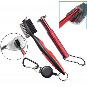 Xintan Tiger Golf Clean Tool -Practical Clean Tool for All Golf Irons (Golf Club Brush and 6 Heads Golf Club Groove SharpenerRed)