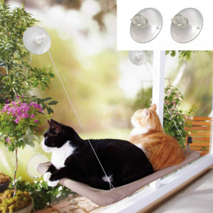AngelaandAlex Window Cat Bed, Cat Window Seat Window Perch Bed Hammock with 2 Extra Replaceable Suction Cups Space Saving All-Around 360 Sunbath Holds Up to 55 lbs for Any Cat Size