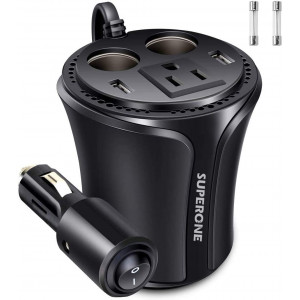 SUPERONE 150W Car Power Inverter DC 12V to 110V AC Car Converter, Dual USB Car Charger and 2-Socket Cigarette Lighter Adapter