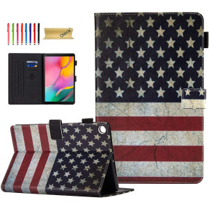 SM-T510 Case for Samsung Galaxy Tab A 10.1 2019 Case, Dteck Slim Fit Premium Leather Folio Stand Protective Magnetic Case with Card Slots for Samsung Tab A 10.1 inch SM-T510/T515, US Flag