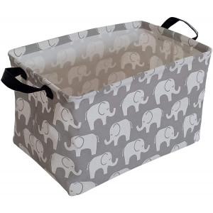 KUNRO Rectangular Canvas Storage Bin Waterproof Toy Organizer with Handles for Organizing Shelf Nursery Home Closet,Kid's Toy and Laundry,Gift Baskets (Elephant)