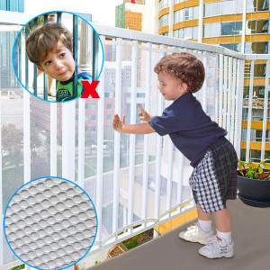 Child Safety Rail Net for Stairs, CuleedTec 16.5x2.5ft Balcony Protective Net for Kids Toys Pets, Anti-Fall Protection Net for Children, Indoor and Outdoor Rail Balcony Banister Stair Net,SGS Passed