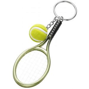 Tennis Racket Keychain Key Ring Tennis Ball Keyring Sport Keychain Gift (Green)