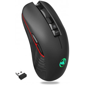 AUTLEY Wireless Mouse Silent Click, 2.4G Optical Noiseless Rechargeable Wireless Mouse for Laptop, PC, Computer, Notebook, 4 Adjustable DPI Levels 800/1600/2400/3600, Colorful LED Lights - Black