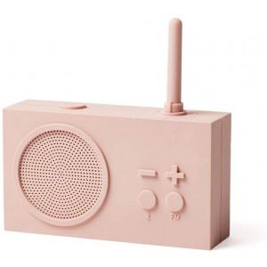 Lexon Tykho 3 FM Radio, Bluetooth Speaker, 5W, Splash Proof IPX4, Autonomy 20 Hours, Silicone Rubber Case - Pink