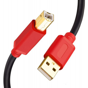 Printer Cable 7M/23Ft,Tan QY USB 2.0 High Speed Gold-Plated Connectors Printer Scanner Cable Cord A Male to B Male for HP, Canon, Lexmark, Dell, Xerox, Samsung etc (23Ft, Red)