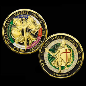 Put on The Whole Armor of God Challenge Coin Prayer Commemorative Coin - Antique Gold