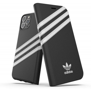 adidas Originals Compatible with iPhone 11 Pro Case, Protective Folio PU Booklet Mobile Phone Case  Black/White