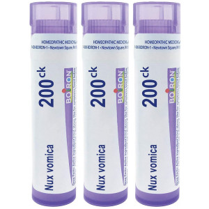 Boiron Nux Vomica 200ck, 80 pellets, homeopathic Medicine for Heartburn or Drowsiness, 3 Count