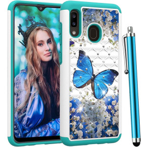 CAIYUNL for Galaxy A30 Case,Galaxy A20 Case,Shockproof Heavy Duty Protective Hybrid Phone Cases Bling Glitter Studded Rhinestone Women Men Hard PCand Silicone for Samsung Galaxy A30/A20-A Blue Butterfly