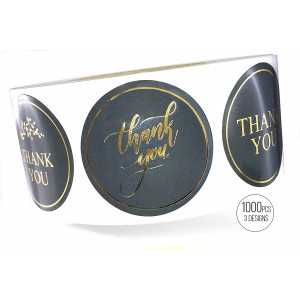 LaPaper - Grey Thank You Stickers with Gold Foil   Round 1,5 inches   Bulk 1000 Labels Per Roll   3 Designs: Wedding, Business, Graduation, Gifts, Party Favors, Cards, Gift Bags