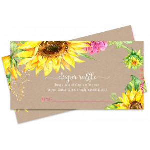 Sunflower Diaper Raffle Ticket (25 Cards) Baby Shower Games  Invitation Inserts  Drawings for Sprinkle Activity  Girls or Boys - Rustic Fall Floral - Yellow and Pink