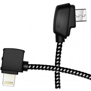 Hanatora 3.66 Inch Micro AB to iOS Remote Controller Cable for DJI Mavic Mini/Mavic 2 Pro Zoom/Mavic Air/Mavic Pro Platinum, Cell Phone OTG Nylon Braided Data Cord Accessories(iOS Connector)