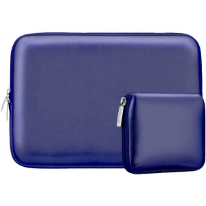 """Laptop Sleeve 13 13.3 13.5 Inch Case for MacBook Air Pro 13""""-13.3"""", Surface Laptop 13.5"""", Water Repellent Elastic Neoprene Notebooks Hand Bag with Small Case, Shining Dark Blue"""