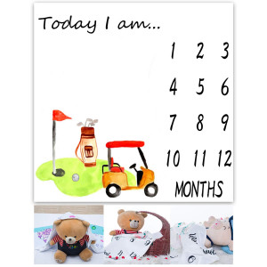Baby Monthly Milestone Blanket Newborn 40x40 inches Golf Themed Photography Blanket Soft Fabric with Frame for Babies from 0 to 12 Months Toddler Blanket EADS469