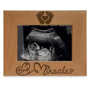 KATE POSH - Tiny Miracle Engraved Natural Wood Picture Frame, New Baby, New Dad and Mom, Parents Gifts, Ultrasound, Sonogram, Baby Gift, Pregnancy Gift, Baby Announcement Photo Frame