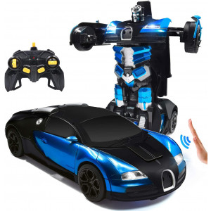 Trimnpy RC Cars Robot for Kids Remote Control Car Transformrobot Gesture Sensing Toys with One-Button Deformation and 360Rotating Drifting 1:14 Scale , Best Gift for Boys and Girls (Blue)