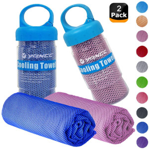 """YQXCC Cooling Towels 2 Pack (47""""x12"""") Travel Towel Microfiber Gym Towel for Men or Women Ice Cold Towels for Yoga Gym Travel Camping Golf Football and Outdoor Sports"""