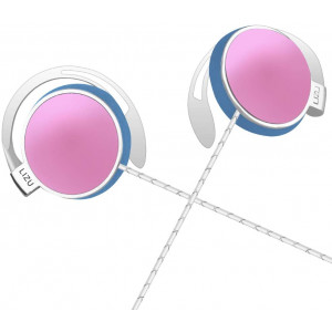 Clip Type EarphonesPortable Stereophone Headphones,with Microphone and Call Controller Stereo Earphones,Suitable for Compatible with 3.5mm iPhone, Android Mobile Phone Pink