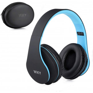 Over Ear Bluetooth Headphones, WXY Wireless Headset V5.0 with Built-in Mic, Micro TF, FM Radio, Soft Earmuffs and Lightweight for iPhone/Samsung/PC/TV/Travel(Black-Blue)