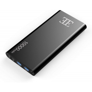 EIUE External Battery,2 USB Outputs Portable Charger Power Bank with Type C Input,Aluminum Shell, Intelligent Charging Tech for iPhone, iPad and Android Devices