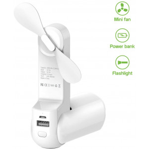Cellet 3 in 1 Handheld Portable Mini Fan, 2000mAh Power Bank Extended Battery, and Flashlight (White)