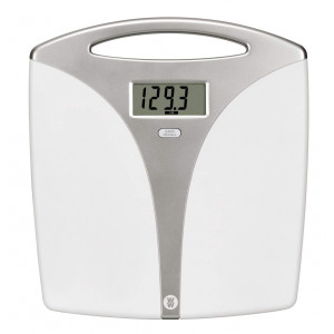 Ww Scales by Conair Portable Precision Plastic Electronic 5 Weight Tracker Bathroom Scale with Carry Handle; Measures Weight to 400 Lb; Silver and White Bath Scale  Weight Watchers Reimagined