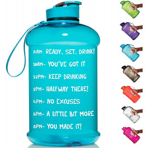HydroMATE Half Gallon 64 oz Motivational Water Bottle with Time Marker Large BPA Free Jug with Handle Reusable Leak Proof Bottle Time Marked to Drink More Water Daily Hydro MATE