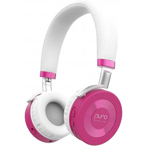 JuniorJams Volume Limiting Headphones for Kids 3+ Protect Hearing  Foldable and Adjustable Bluetooth Wireless Headphones for Tablets, Smartphones, PCs  22-Hour Battery Life by Puro Sound Labs, Pink