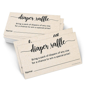"""321Done Diaper Raffle Tickets (Set of 50) 3.5"""" x 2"""" with Name Line, Baby Shower Game, Enter to Win Drawing, Prize, Small Kraft Tan - Made in USA"""